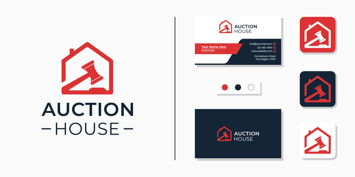 Auction house logo and business card design template identity