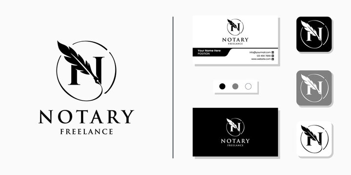 Notary logo initial letter N and business card design template
