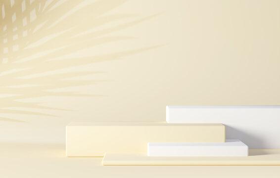 3d render illustration of geometric shape podium on pastel background