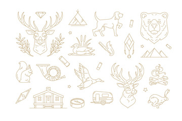 Fototapeta Set of linear vector signs for nature and travel concept