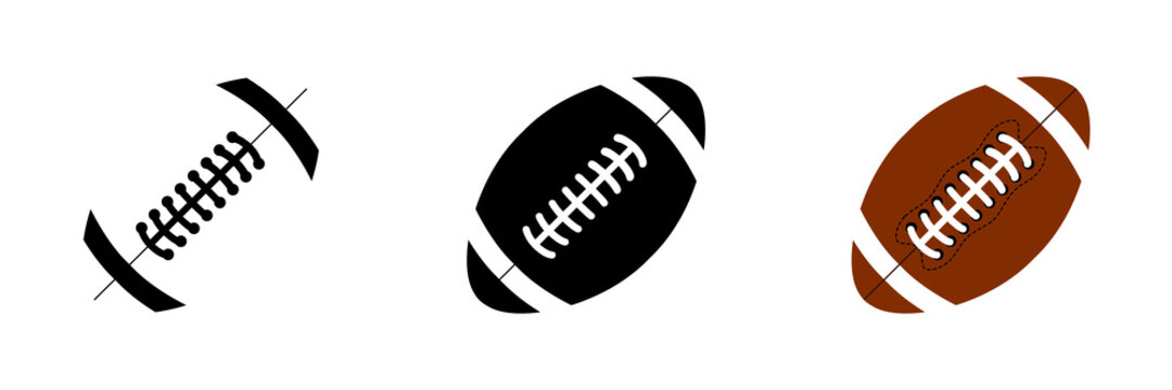 Vector football balls icons. American Football ball in different designs. Sport concept. Vector illustration