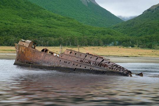 Ship wrecked on the shores of Tierra del Fuego
