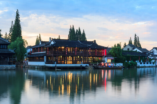 Beautiful house with reflections Zhujiajiao water town in Shanghai