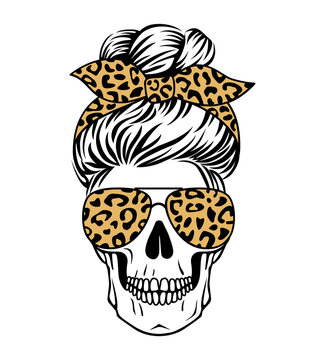 Female skull with aviator glasses bandana and leopard print. Mom skull with messy bun. Vecto illustration. Sugar skull with cheetah pattern.
