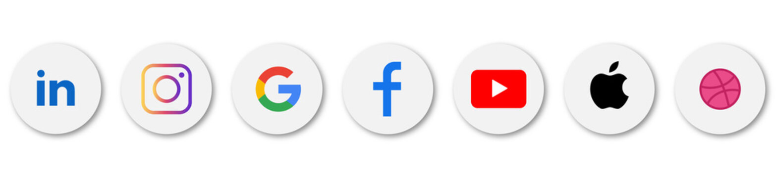 Popular social media icons: in, instagram, facebook, google, youtube, apple, dribbble. Vector set of social networking icons on white background with realistic shadows. Vector EPS 10
