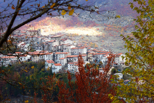 The old town of Opi inside Abruzzo National Park, Italy