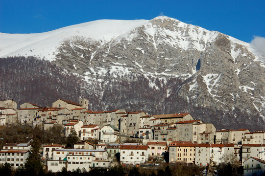 The old town of Opi in winter, Abruzzo National Park, Italy