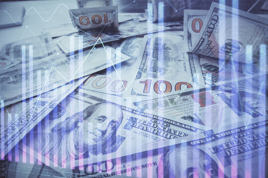 Multi exposure of forex chart drawing over us dollars bill background. Concept of financial success markets.