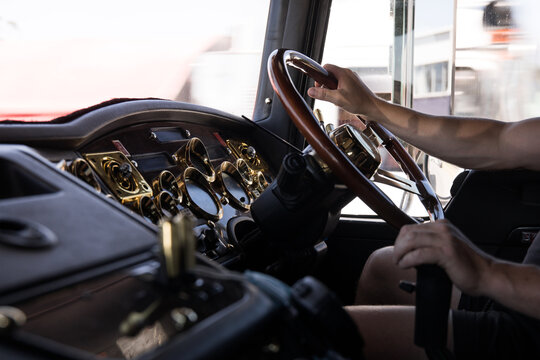 Man driving large truck