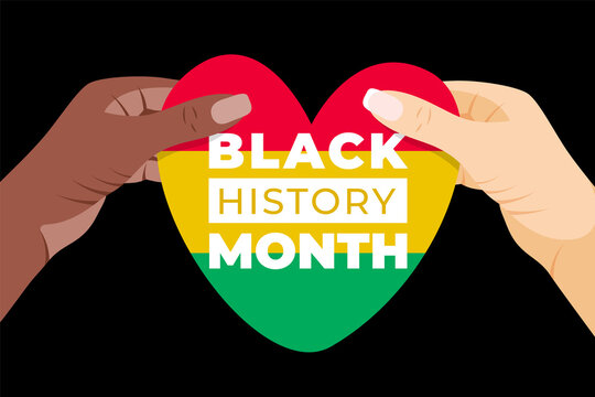 Black History Month. Vector African American History Heart Flag in hands Design