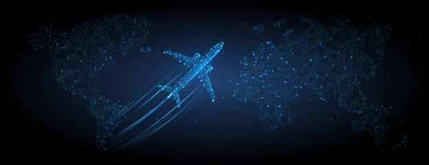 Fototapeta 3d airplane flying over continents and ocean. Abstract vector top view wireframe. Digital airliner and world map concept in dark blue background. Low poly mesh with dots, lines and glowing stars