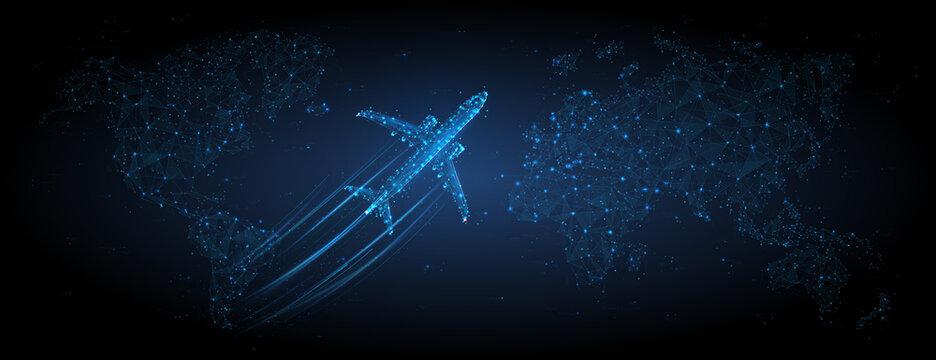 3d airplane flying over continents and ocean. Abstract vector top view wireframe. Digital airliner and world map concept in dark blue background. Low poly mesh with dots, lines and glowing stars
