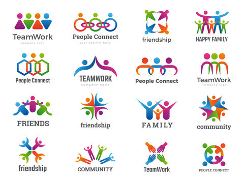 Partners logo. Connecting people teamwork friendship successful family union recent vector business symbols collection. Friendship people, teamwork partnership connection illustration