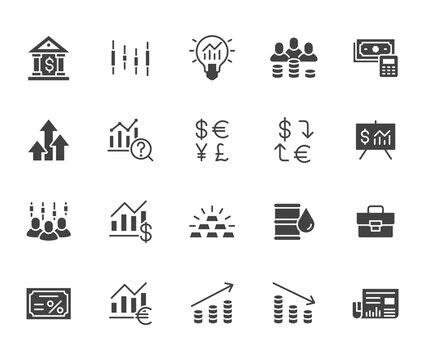 Investment flat icon set. Stock market, bond, financial analysis, broker, income increase black minimal silhouette vector illustration. Simple glyph signs for investor application