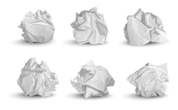 Crumpled balls. 3d garbage paper idea notes trash symbols decent vector realistic pictures. Paper garbage trash, crumpled rubbish illustration