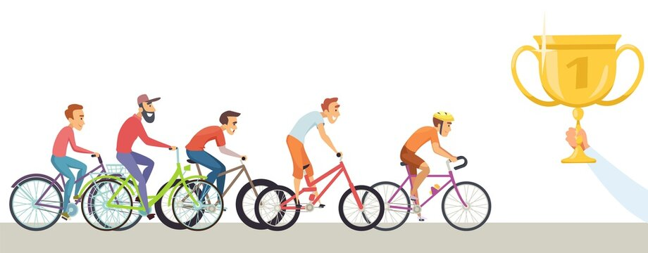 Diverse man competition. Men ride bicycles, hand hold trophy. Winners, male racers vector characters. Bicycle ride competition, sport cyclist championship illustration