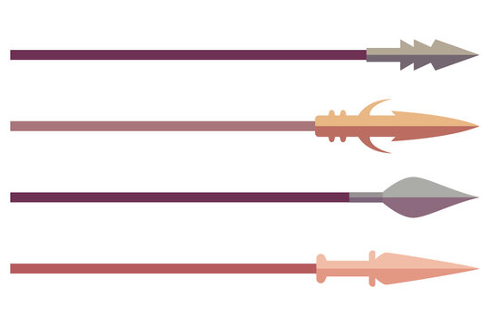 Spear vector cartoon set isolated on a white background.