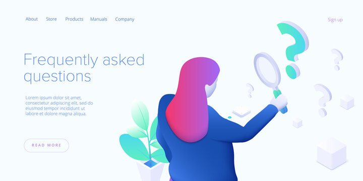 FAQ concept illustration in isometric vector design. Frequently asked questions concept with woman looking through magnifier.