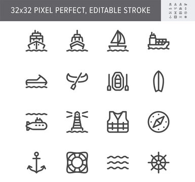 Water transport simple line icons. Vector illustration with minimal icon - cargo ship, yacht, canoe, surfboard, compass, anchor, submarine, jet ski pictogram. 32x32 Pixel Perfect. Editable Stroke
