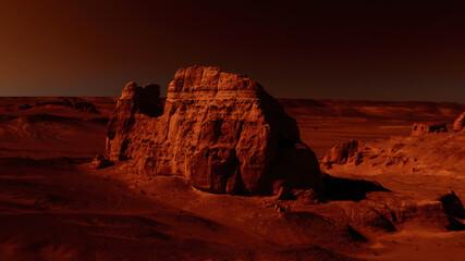 Fantastic martian landscape in rusty orange shades, Mars surface, Desert, Cliffs, sand. Alien landscape. Red planet mars