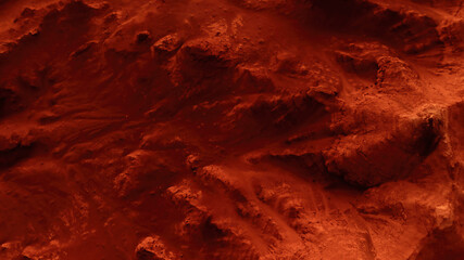 Fantastic martian landscape in rusty orange shades, Mars surface, Desert, Cliffs, sand. Alien landscape. Red planet mars