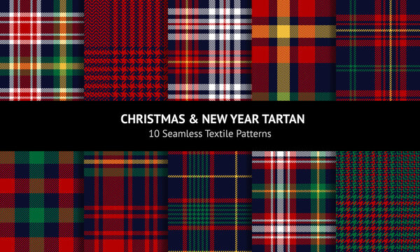 Christmas plaid patterns in red, green, blue, yellow. Seamless multicolored dark tartan checked backgrounds for flannel shirt, skirt, duvet cover, pyjamas, or other modern winter fashion fabric print.