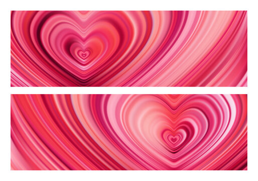 Set of two Modern red flow heart backgrounds. Wave color Liquid shape. Happy Valentine's Day