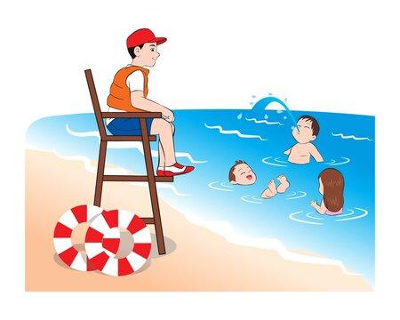 Beach lifeguard safeguarding watching kids sitting on lifeguard tower ensuring safety. Happy girl  boys children enjoying safe sea water swimming. vector illustration isolated cartoon hand drawn