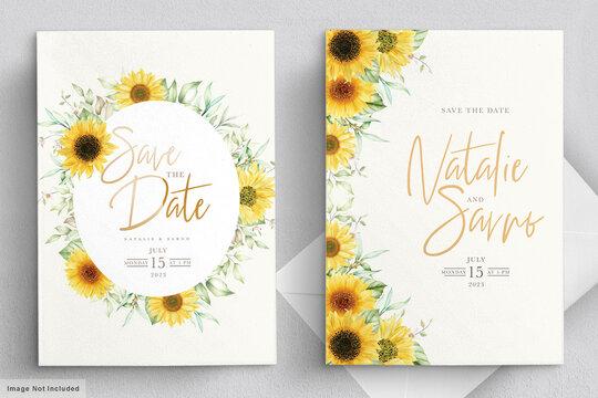watercolor sunflower invitation card set