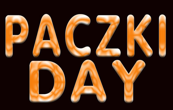 11 February Paczki Day, Color Text Effect on Black Backgrand