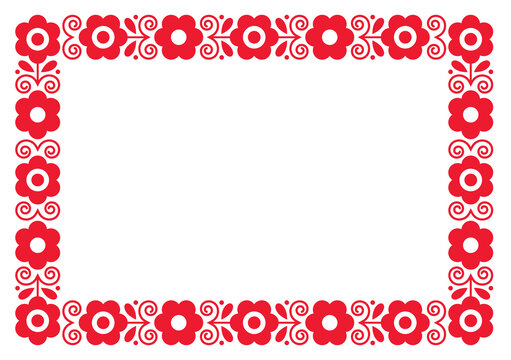 Polish  decorative floral folk art rectangle 5x7 format frame vector design, perfect for greeting card or wedding invitation