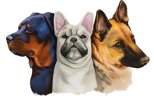 Three dogs white French bulldog, Black Mastiff and shepherd gun dog isolated digital art illustration. Clipart of puppies domestic cute pets, hand drawn animals, dog loss and pets birthday gift.