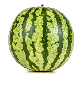 A fresh ripe watermelon isolated on a white background