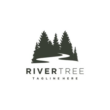 Evergreen pine tree with river creek logo design vector