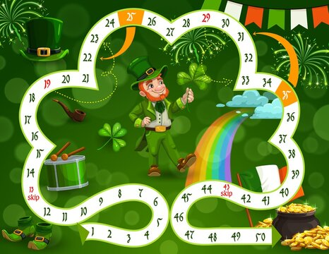 Kids board game vector template St Patricks day theme, step boardgame with block path in shape of lucky clover, numbers, start, finish and cartoon Leprechaun with gold. Educational children riddle
