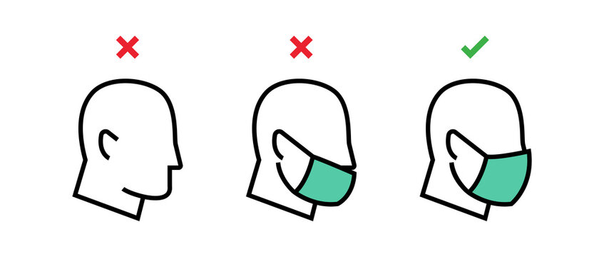 How to wear face mask correctly. Correct and incorrect wearing face mask. Wrong and right way using fase mask. Instruction how to use face mask. Virus prevention concept. Vector graphic.