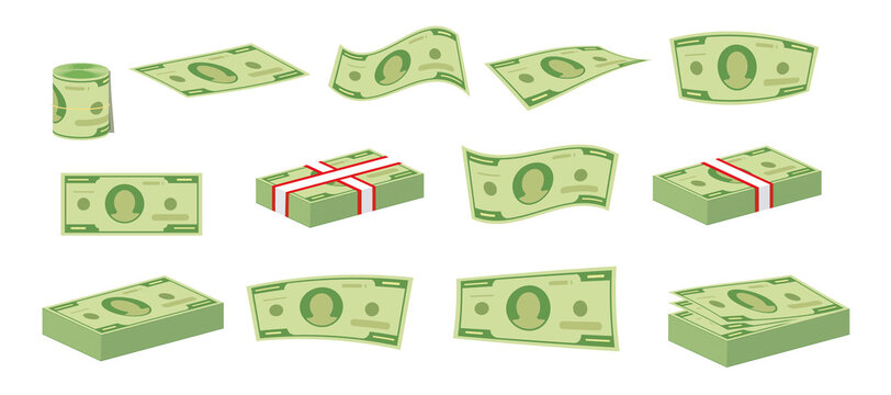Packing in bundles of bank notes, bills fly. Green dollar banknotes cash vector icons. Cash money paper, financial pile banknotes illustration