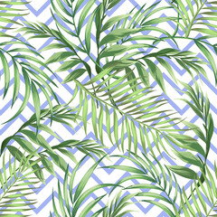 Tropical seamless vector pattern with palm leaves. Jungle summer illustration.