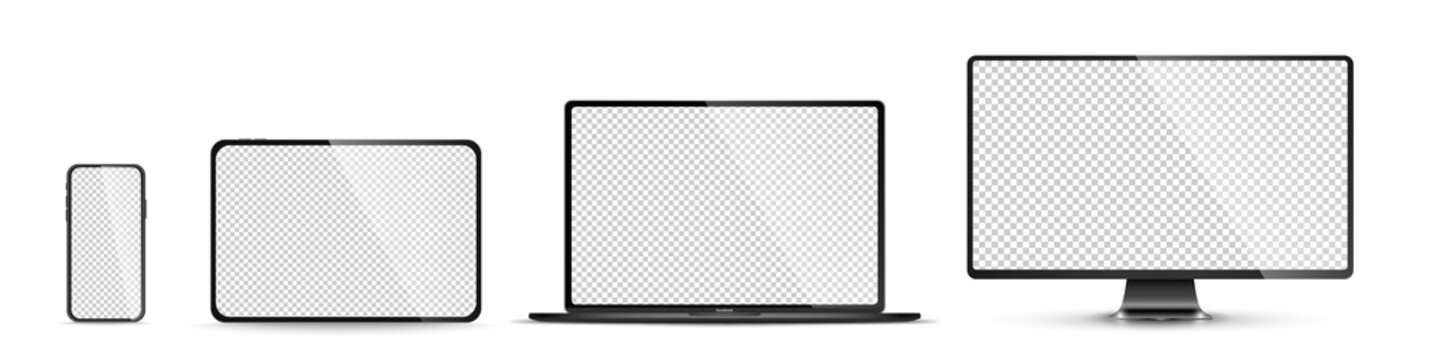 Realistic set of monitor, laptop, tablet, smartphone - PNG. Vector illustration