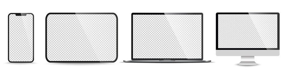 Fototapeta Device screen mockup. Smartphone, tablet, laptop and monoblock monitor, with blank screen for you design. PNG. Vector illustration