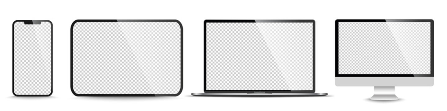 Device screen mockup. Smartphone, tablet, laptop and monoblock monitor, with blank screen for you design. PNG. Vector illustration
