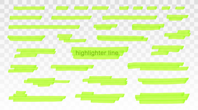 Green highlighter lines set isolated on transparent background. Marker pen highlight underline strokes. Vector hand drawn graphic stylish element