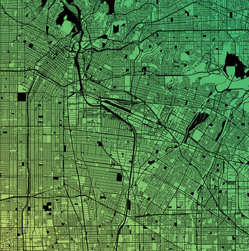 Los Angeles, California, United States (USA) - Urban vector megacity map with parks, rail and roads, highways, minimalist town plan design poster, city center, downtown, transit network