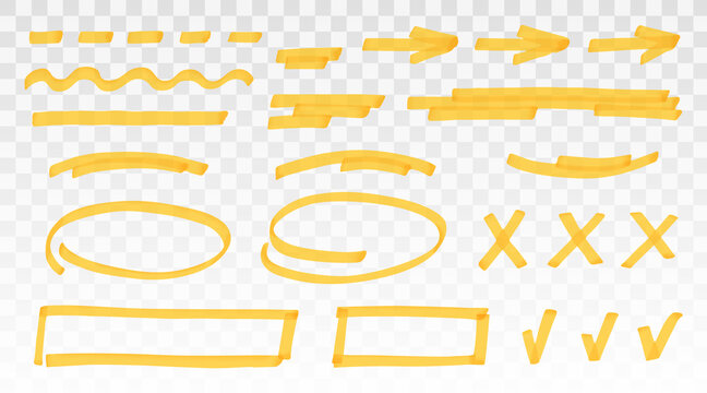 Yellow highlighter set - lines, arrows, crosses, check, oval, rectangle isolated on transparent background. Marker pen highlight underline strokes. Vector hand drawn graphic stylish element