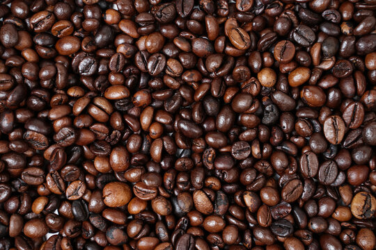 Concept wallpaper for a coffee shop. The scattered coffee beans are combined with a plain background. The texture of the coffee beans is very striking. Template background for mockup design.