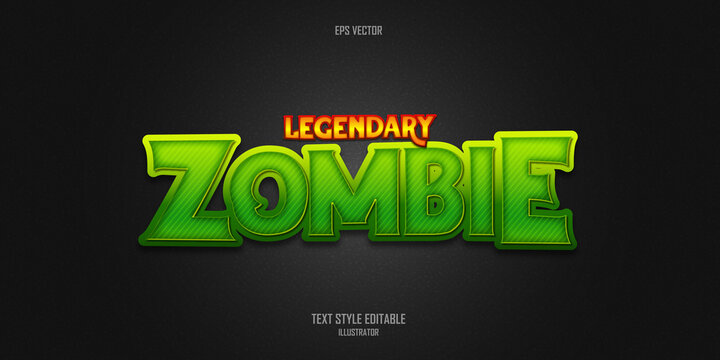 Legendary zombie 3D text style effect template