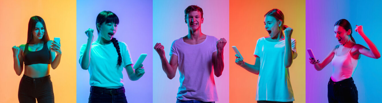Celebrating. Portrait of young cheerful people on neon gradient background. Flyer, art collage made of 5 models. Concept of human emotions, facial expression, sales, ad. Scrolling phone, listening