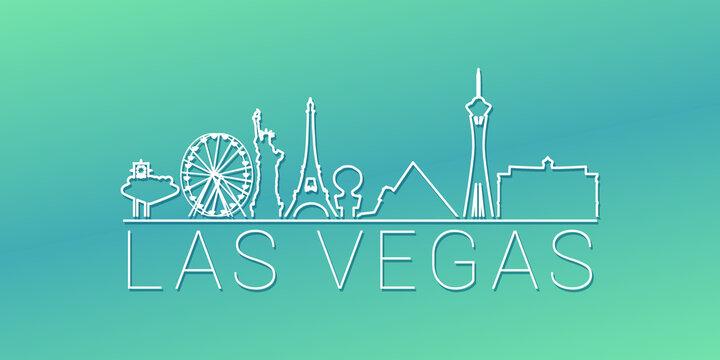 Las Vegas, NV, USA Skyline Linear Design. Flat City Illustration Minimal Clip Art. Background Gradient Travel Vector Icon.