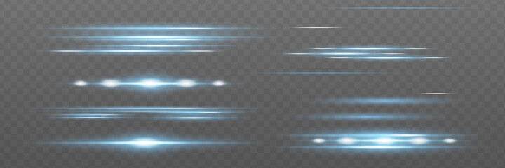Fototapeta Blue horizontal lens flares pack. Laser beams, horizont