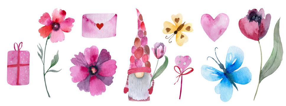 Cute romantic set of design elements for Valentine's Day.